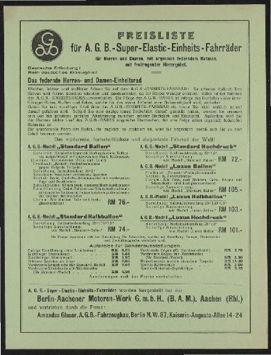 A.G.B. Super-Elastic-Fahrräder Preislisten 1932