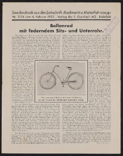 A.G.B. Super-Elastic-Fahrräder Sonderdrucke 1932 1934