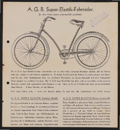 A.G.B. Super-Elastic-Fahrräder Werbeblätter 1934