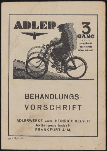 Adler 3 Gang Behandlungsvorschrift 1936
