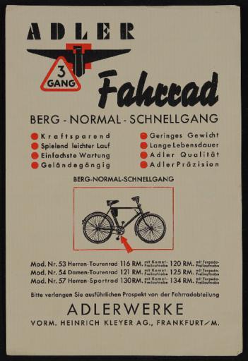 Adler 3 Gang Prospekt ca. 1935