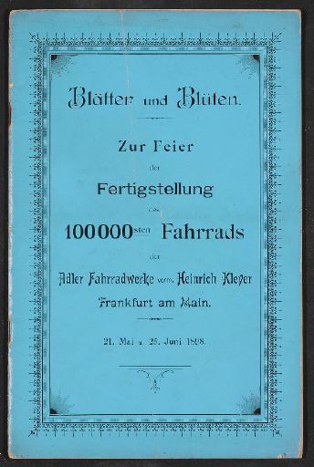 Adler, Festschrift 100 000. Fahrrad 1898