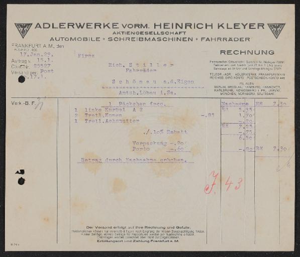 Adlerwerke Rechnung und Briefbogen 1929