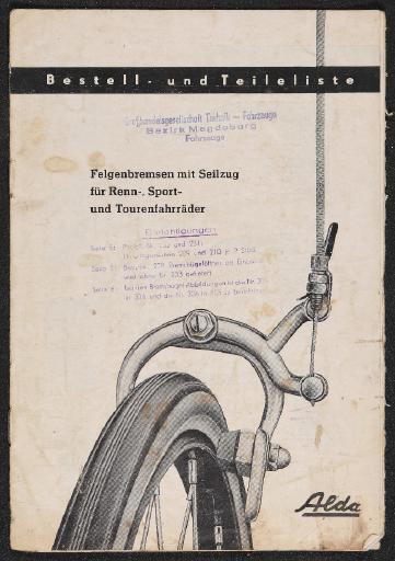 Alda Felgenbremsen mit Seilzug Teileliste 1959