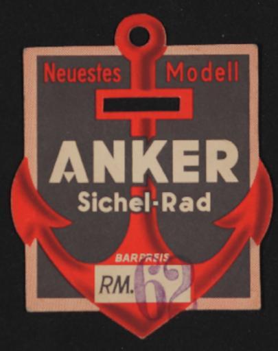 Anker Sichel-Rad Preisschild 1930er Jahre
