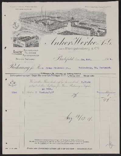 Anker Werke, Rechnung 1908