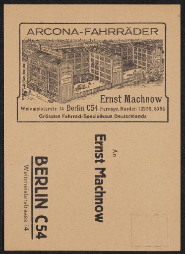 Arcona Fährrader Ernst Machnow Berlin Bestellkarte 20er Jahre