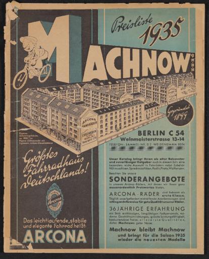 Arcona-Räder Ernst Machnow Händlerkatalog 1935