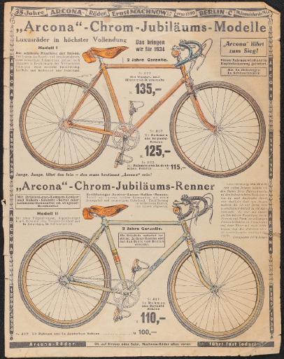 Arcona-Räder Ernst Machnow Werbeblätter 1934