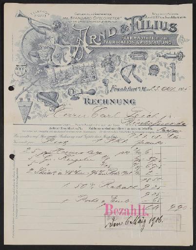 Arnd u. Filius Fahrradteile, Rechnung 1905