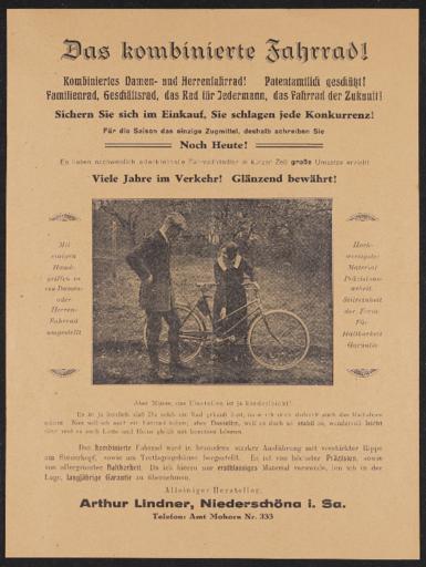 Arthur Lindner Kombiniertes Damen- und Herrenfahrrad 1920er Jahre