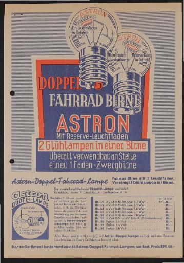 Astron Doppel Fahrrad Birne Werbeblatt 1930er Jahre