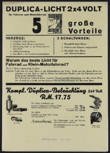 Astron Duplica-Licht Werbeblatt 1930er Jahre