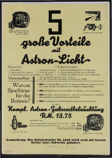 Astron Fahrradbeleuchtung Werbeblatt 1931
