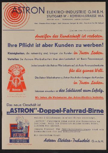 Astron Händlerinformation 1930er Jahre