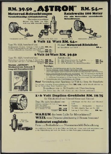 Astron Motorrad-Beleuchtungen Werbeblatt 1930er Jahre