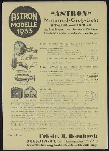Astron Motorrad-Groß-Licht Modelle 1933 Werbeblatt 1933
