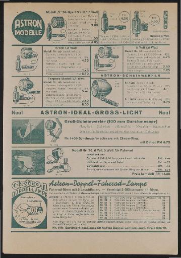 Astron Werbeblatt 1930er Jahre