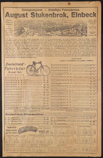 August Stukenbrok Einbeck Vorzugsangebot Werbeblatt 1925