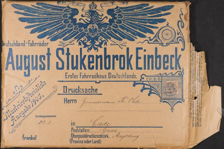 August Stukenbrok Versandumschlag 1905