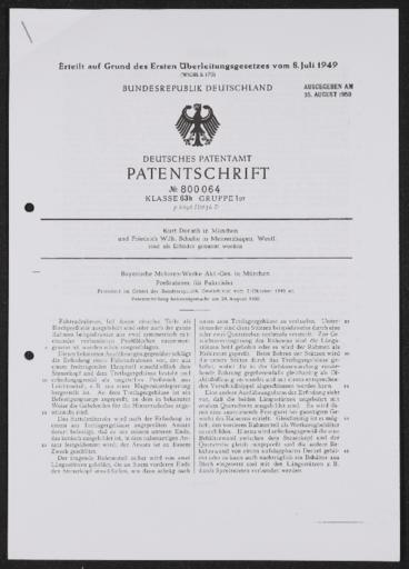 BMW Pressrahmen für Fahrräder Patentschrift 1948