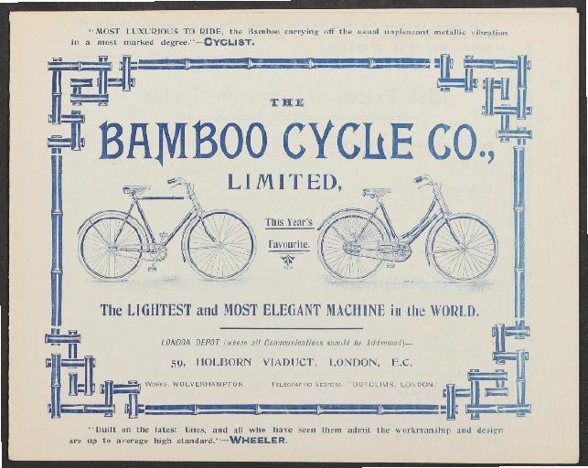 Bamboo Cycle London Faltblatt 1894