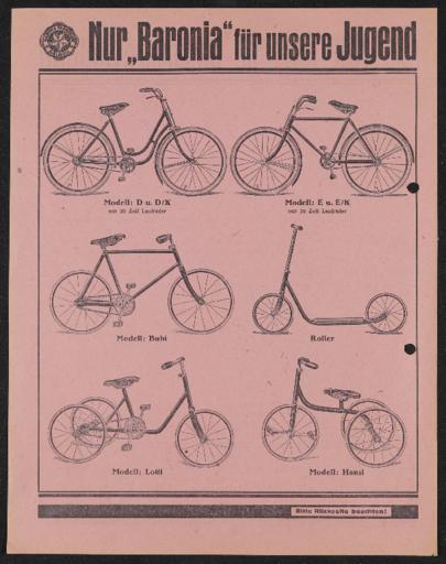 Baronia für unsere Jugend  Werbeblatt 1920er Jahre