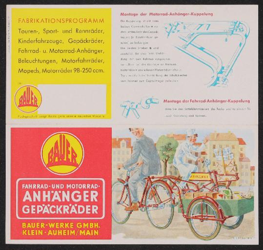 Bauer Fahrrad- und Motorradanhänger Gepäckräder Faltblatt 1950er Jahre