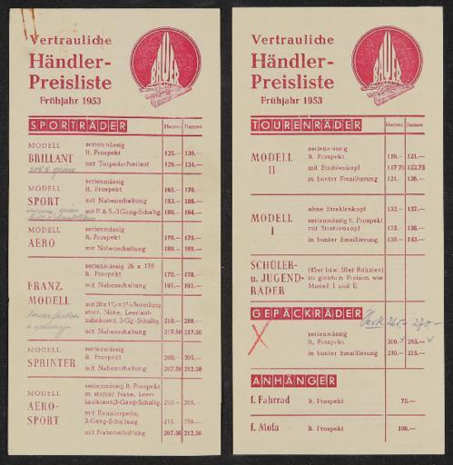 Bauer Händler-Preisliste 1953, 1956, 1957