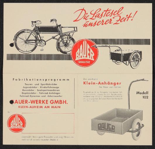 Bauer Transportrad Fahrradanhänger Faltblatt 1950er Jahre