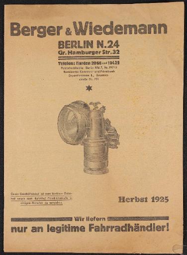 Berger und Wiedemann Berlin Katalog 1925