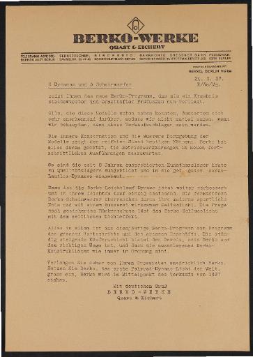 Berko Fahrradlicht Händlerschreiben und Werbeblatt 1937