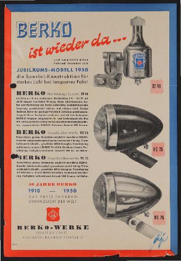 Berko Fahrradlicht Jubiläums-Modell Werbeblatt 1950