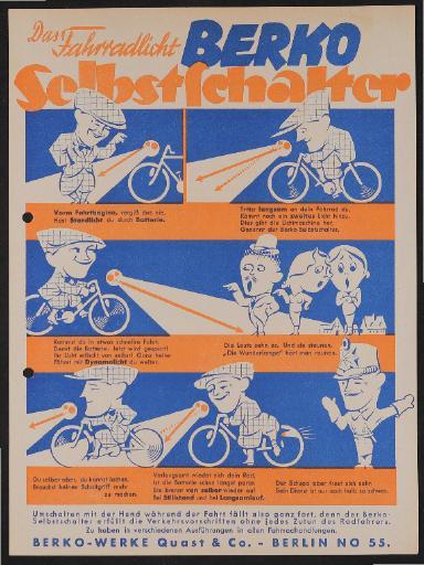 Berko Fahrradlicht Selbstschalter Werbeblatt 1937