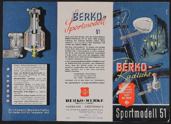 Berko Fahrradlicht Sportmodell Werbeblatt 1951
