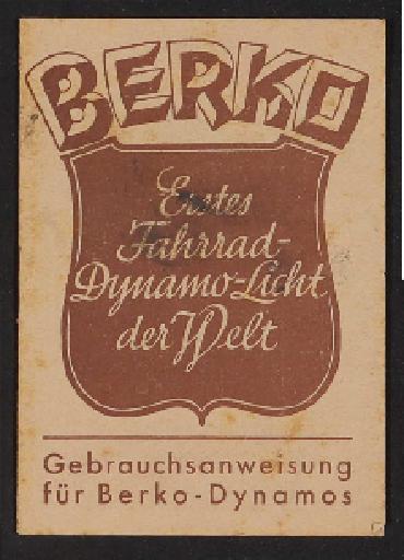 Berko Gebrauchsanweisung für Berko-Dynamos Infoheft  1937