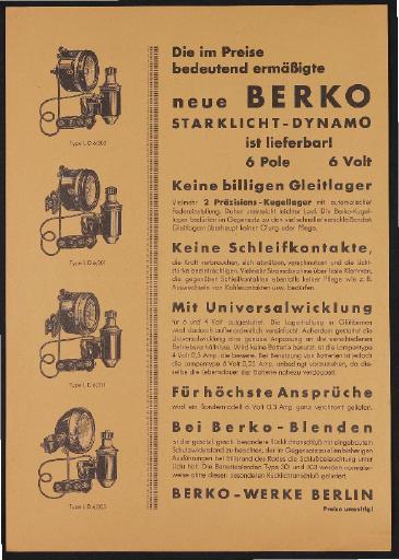 Berko Starklicht-Dynamo Werbeblatt 1933