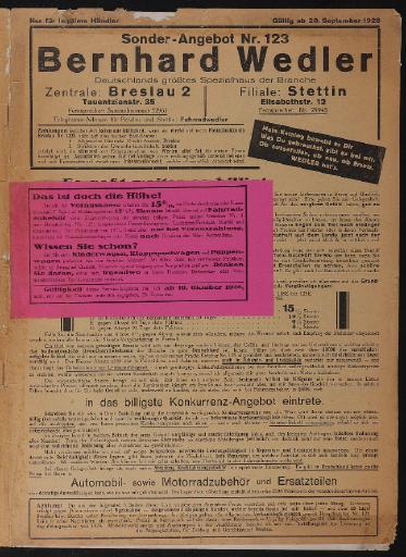 Bernhard Wedler Sonderangebot Nr. 123 Katalog 1928
