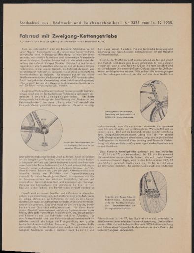 Bismarck Berg wie Tal Radmarktsonderdruck 1935