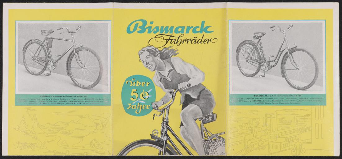Bismarck Fahrräder Faltblatt Ende 1950er Jahre