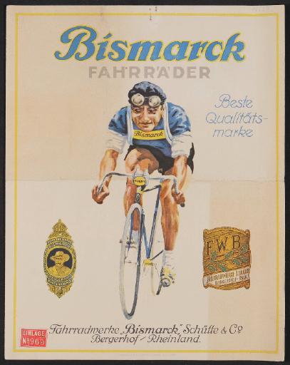 Bismarck Fahrräder, Faltblatt 1930er Jahre