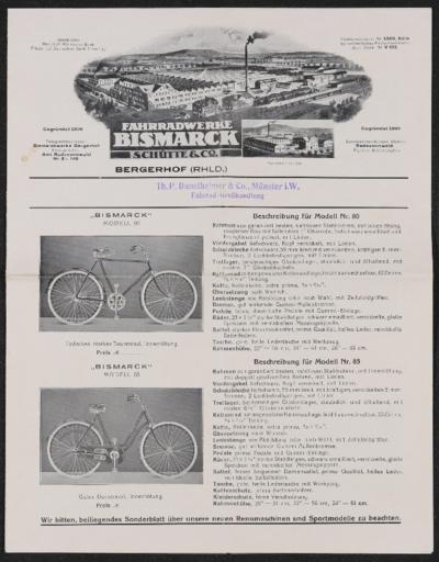 Bismarck Fahrradwerke Faltblatt ca. 1920er Jahre
