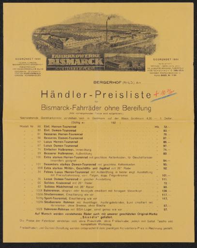 Bismarck Fahrradwerke Preisliste 1925