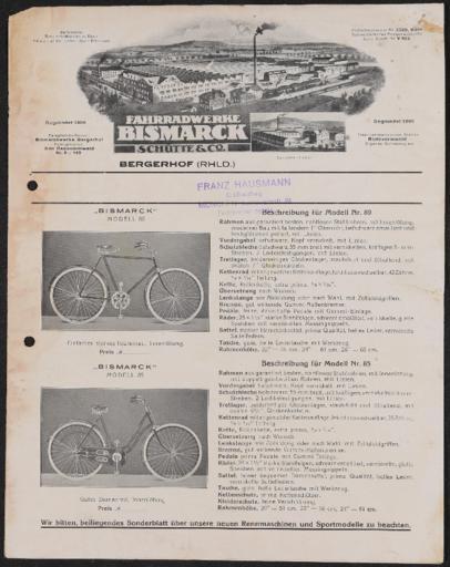 Bismarck Fahrradwerke Schütte Co. Faltblatt 1920er Jahre