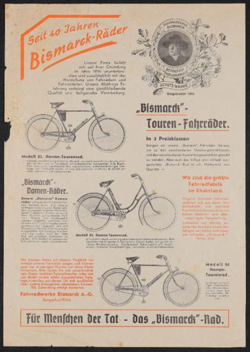 Bismarck-Räder Werbeblatt 1936