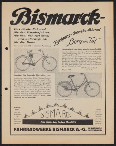 Bismarck-Zweigang-Getriebe-Fahrrad Werbeblatt 1937