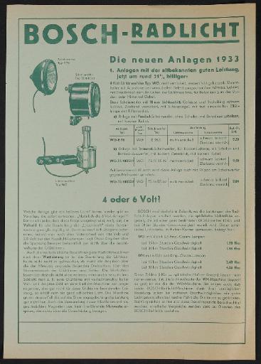 Bosch Rad-Licht-Anlagen Werbeblatt 1933