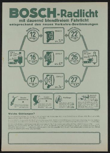 Bosch Rad-Licht-Anlagen Werbeblatt 1934