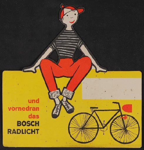 Bosch Radlicht Händler-Werbeanhänger für Fahrrad 1960er Jahre