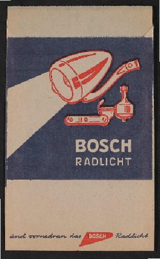 Bosch Radlicht Werbe-Papiertütchen 1960er Jahre